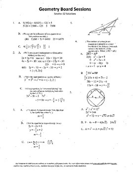Geometry Board Session 12,SAT,ACT,medians,inscribed square circle,slope