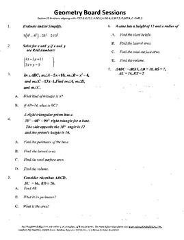 Geometry Board Session 15,SAT,ACT,rhombus,30-60-90,triangular prism