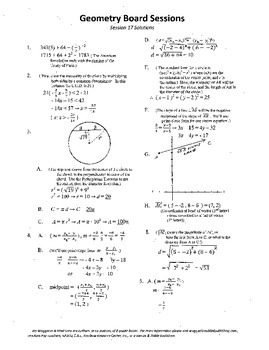 Geometry Board Session 17,SAT,ACT,slopes,vectors,line equations,chords