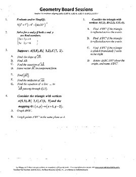 Geometry Board Session 19,SAT,ACT,lines,vectors,translations,mappings