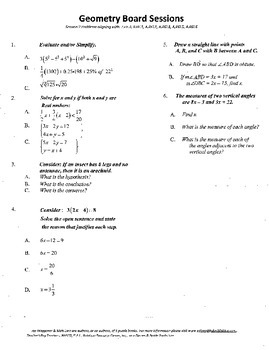 Geometry Board Session 2,SAT,ACT,mini proof,algebra review