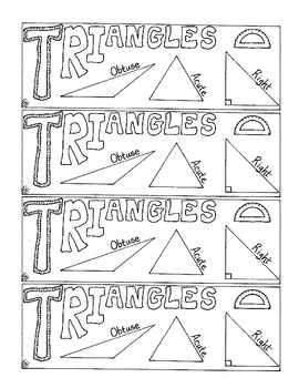Geometry Bookmark Triangle 3 Sided Figure Angles Coloring Page PDF