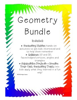 Geometry-Shapes, Angles, 2D and 3D, Quizzes, and Summative Project!