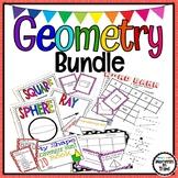 Geometry Activities Bundle - Bingo, posters, games, foldables, task cards,