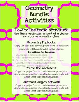 Geometry Bundle Activities
