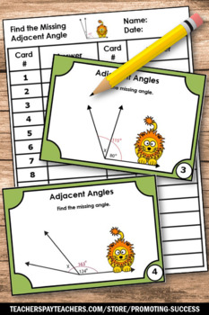 Measuring Angles Task Cards BUNDLE, Find the Missing Angles, Geometry Games