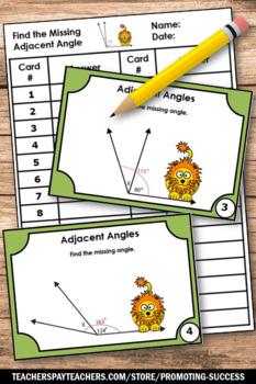 Measuring Angles Task Cards BUNDLE Adjacent Complementary Vertical Supplementary
