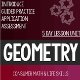 Geometry Lesson Unit Consumer Math Life Skills Special Education