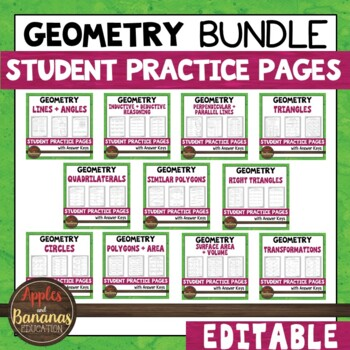 Geometry Student Practice Pages Bundle