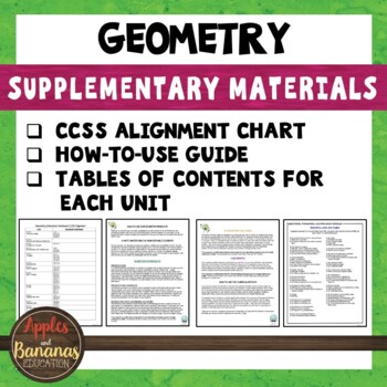Geometry Bundle Supplementary Materials and CCSS Alignment Guide