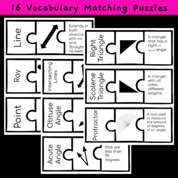 Geometry Bundle - Vocab Matching Center - Assessments - TOTDs