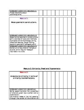 Geometry CCSS Student Checklist