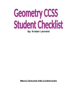 Geometry CCSS Student Checklist