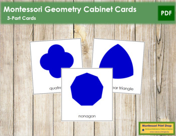 Geometry Cabinet Shapes: 3-Part Cards