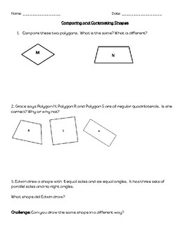 Compare and contrast teaching resources teachers pay teachers geometry challenge comparing and contrasting shapes geometry challenge comparing and contrasting shapes ccuart Image collections