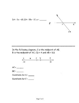 Geometry Chapter 1 Bundle: Points, Lines, Planes, and Angles