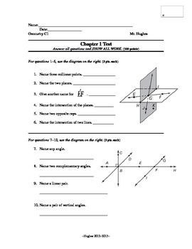 Geometry Chapter 1 Test - Points, Lines, and Planes