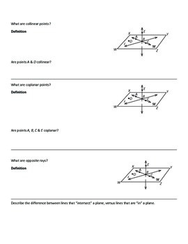Geometry Note Sheets: Chapter 1 Tools for Geometry