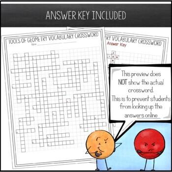 Geometry Chapter 1 Vocabulary Crossword - Tools of Geometry