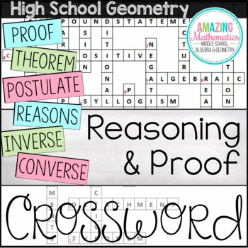 Geometry Chapter 2 Vocabulary Crossword - Reasoning & Proof