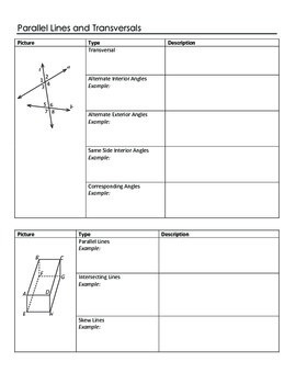 Geometry Note Sheets: Chapter 3 Parallel Lines