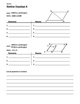 Geometry Chapter 6 Review - Properties of Polygons