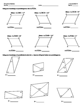 Geometry Chapter Review - Quadrilaterals
