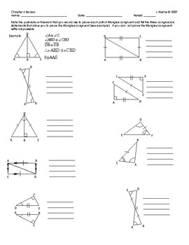 Geometry Chapter Review - Triangle Congruence