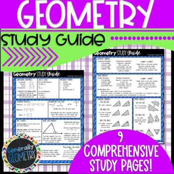 Geometry Cheat Sheet-Great for final exams, state assessments, or everyday use!