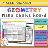Geometry Enrichment Projects Choice Board – 5th Grade