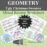 Geometry - Christmas Review Worksheet - Ugly Christmas Sweaters