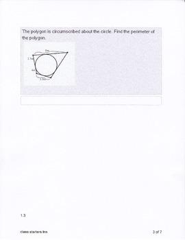 Geometry Circle Class Starters