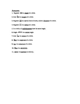 Geometry Circle Term Quiz