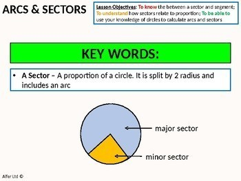 Geometry: Circles 3 - Arcs and Sectors of Circles (+ worksheet)