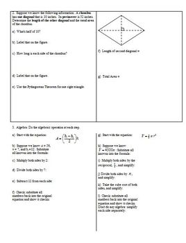 Geometry Circles Areas Volumes Extra Review Spring 2013 (Editable)