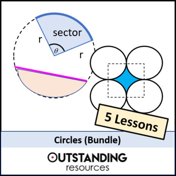 Geometry: Circles Bundle (area, arcs, sectors, segments) 5 lessons