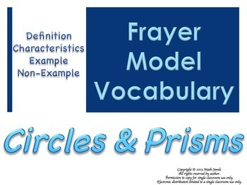 Geometry-Circles & Prisms-Frayer Model Vocabulary (Vocab they will LIKE and USE)