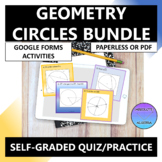 Geometry Circles Google Forms Practice Quiz Bundle Distance Learning