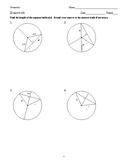 Geometry - Circles - Homework Pack
