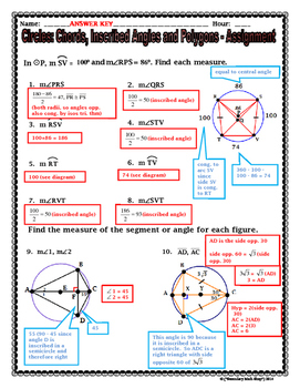 Circles - Geometry  Inscribed Angles, Polygons, Diameters, Chords Notes & Hmwk