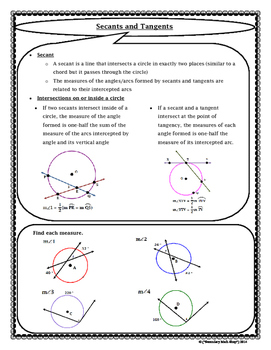 Circles - Geometry Circles Tangents and Secants Notes and Assignment