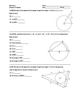 Geometry - Circles Unit Review