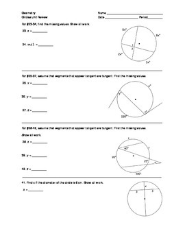 Geometry - Circles Unit Review