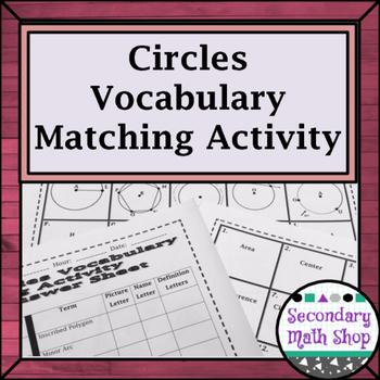 Circles - Geometry Circles Vocabulary Matching Activity