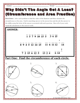 math worksheet : geometry circumference and area of circles riddle worksheet : Area Of Circle Worksheet