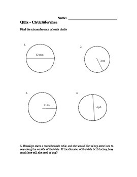 Circumference of a Circle Quiz