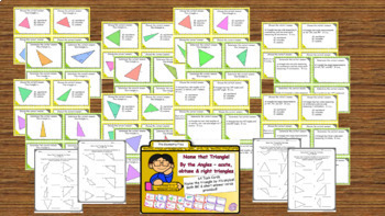 Geometry - Classify Triangles by Angles and Sides Task Cards BUNDLE