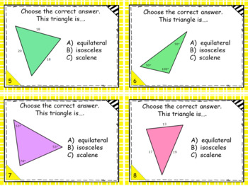 Geometry - Classify Triangles by Sides only Task Cards