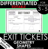 Geometry Classifying Shapes - Exit Tickets - Differentiate