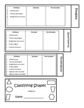 Geometry: Classifying Shapes Flip Book